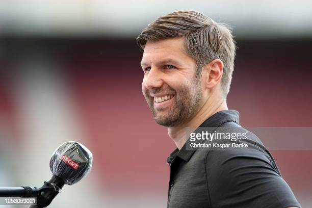 Chariman of VfB Stuttgart Thomas Hitzlsperger is interviewed ahead of the Second Bundesliga match between VfB Stuttgart and SV Darmstadt 98 at...