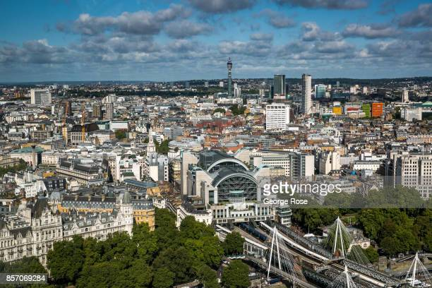 Charing Cross Station is viewed from the London Eye on September 13 in London England Great Britain's move toward 'Brexit' or the departure from the...