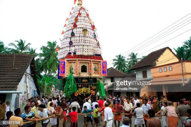Chariot festival people pulling rope of rath, Palakad Palakkad, Kerala, India