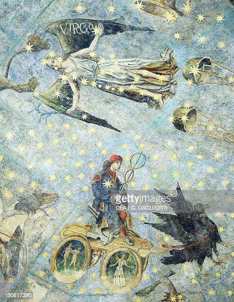 Chariot of Mercury and Virgo 16th century detail from the Zodiac frescoes in the dome of the old library University of Salamanca Spain
