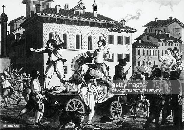 Chariot of plague victims, illustration for the Betrothed by Alessandro Manzoni , engraving. Italy, 19th century.