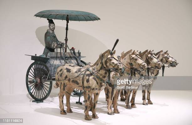 Chariot on display during a media preview for Melbourne Winter Masterpieces exhibition Terracotta Warriors Guardians of Immortality | Cai GuoQiang...