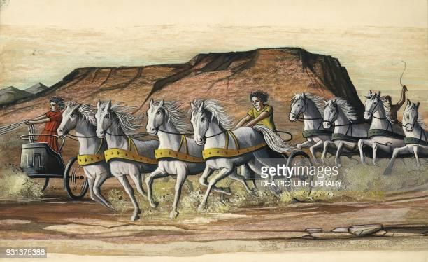 Chariot race drawing Greek civilization