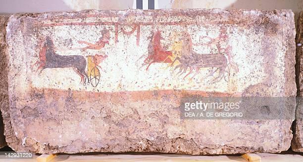 Chariot race fresco from Tomb 3 of the Necropolis in AndriuoloLaghetto in Paestum Campania Italy Ancient Greek civilization Magna Graecia Paestum...