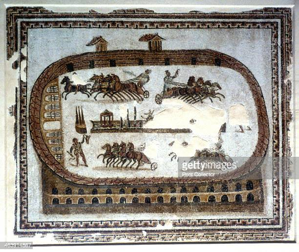Chariot race in the arena Roman mosaic 2nd century From the Bardo Museum Tunisia