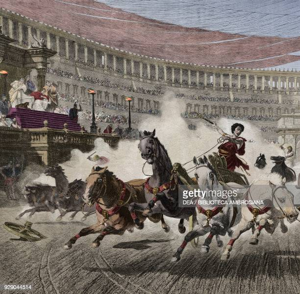 Chariot race in the Circus Maximus in Rome detail from a painting by Wagner engraving from L'IIllustrazione Italiana no 22 May 28 1882 Digitally...