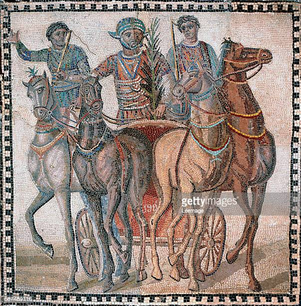 Chariot racing drivers in starting position Mosaic 3rd cent AD Museo Arqueologico Nacional Madrid