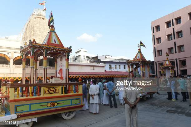 Chariots of Lord Jagannath sister Subhadra and brother Balaram are seen in the campus of Lord Jagannath Temple on the eve of the annual Rath Yatra of...