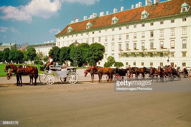 Chariots waiting outside the Imperial Palace, Vienna, Austria