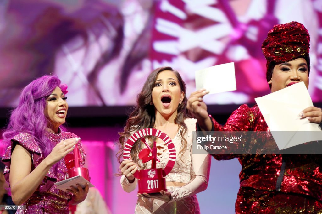 Charis Amber Lincoln, Jessica Kalil, and Patrick Starrr at the 2017 NYX Professional Makeup FACE Awards at The Shrine Auditorium on August 19, 2017 in Los Angeles, California.