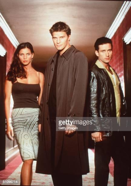 "Charisma Carpenter, David Boreanaz, And Glenn Quinn Star In The Tv Show ""Angel."""
