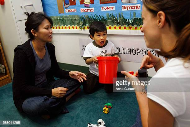 Charissa Powers a speech and language teacher at the John Tracy Clinic in Los Angeles works with Tyler de Lara on May 12 2009 It has been seven...