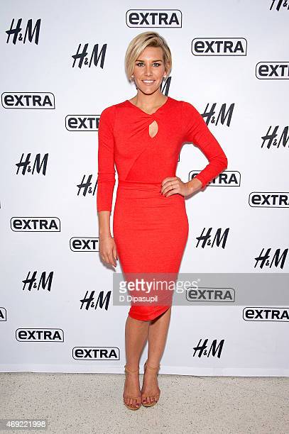 Charissa Thompson cohosts Extra at their New York Studios at HM in Times Square on April 10 2015 in New York City