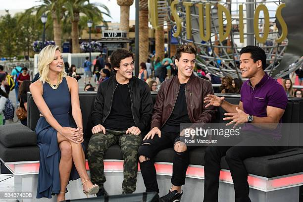 Charissa Thompson Ethan Dolan Grayson Dolan and Mario Lopez visit 'Extra' at Universal Studios Hollywood on May 25 2016 in Universal City California
