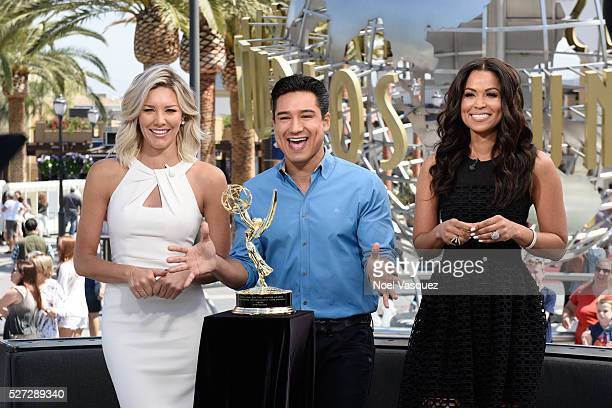 Charissa Thompson Mario Lopez and Tracey Edmonds celebrate with their Day Time Emmy at 'Extra' at Universal Studios Hollywood on May 2 2016 in...