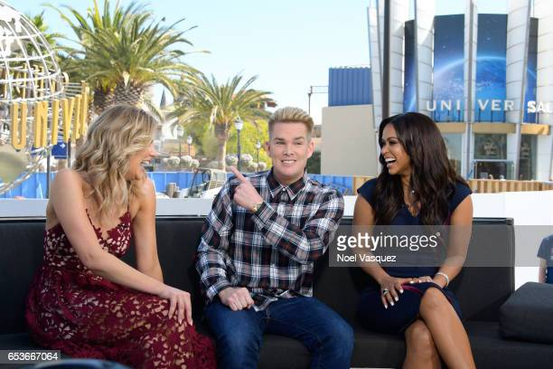 Charissa Thompson Mark McGrath and Tracey Edmonds visit Extra at Universal Studios Hollywood on March 15 2017 in Universal City California