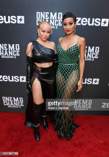 """Charisse Mills and Janeisha John attends Zeus Network's """"One Mo Chance"""" Season 2 Premiere at AMC Universal at City Walk on September 19, 2021 in..."""