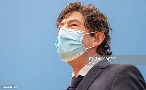 Charite Hospital Institute for Virology Director Christian Drosten attends a press conference with other leading German health authorities about the...