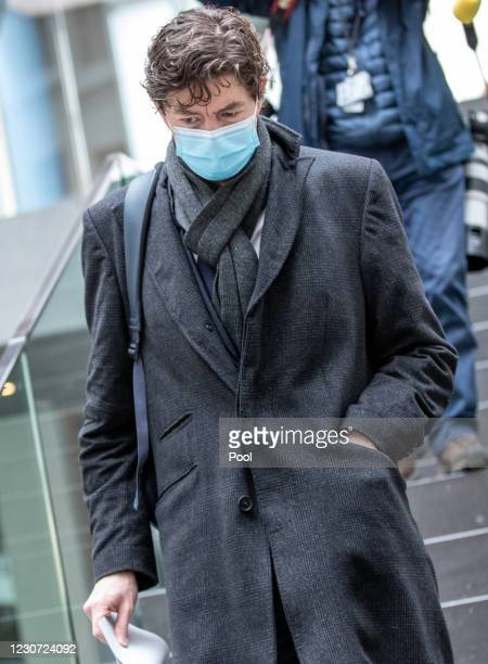Charite Hospital Institute for Virology Director Christian Drosten leaves after speaking with other leading German health authorities to the media...