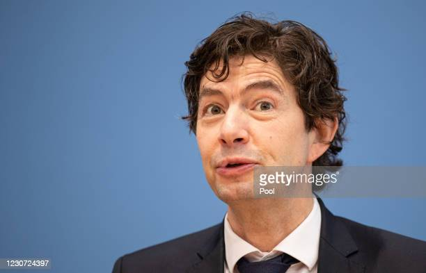 Charite Hospital Institute for Virology Director Christian Drosten speaks with other leading German health authorities to the media over the current...