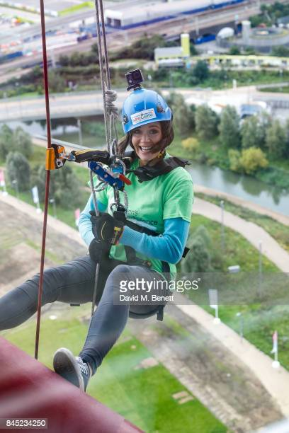 Charity ambassador Lilah Parsons abseils down the ArcelorMittal Orbit to raise funds for The Children's Air Ambulance on September 9 2017 in London...