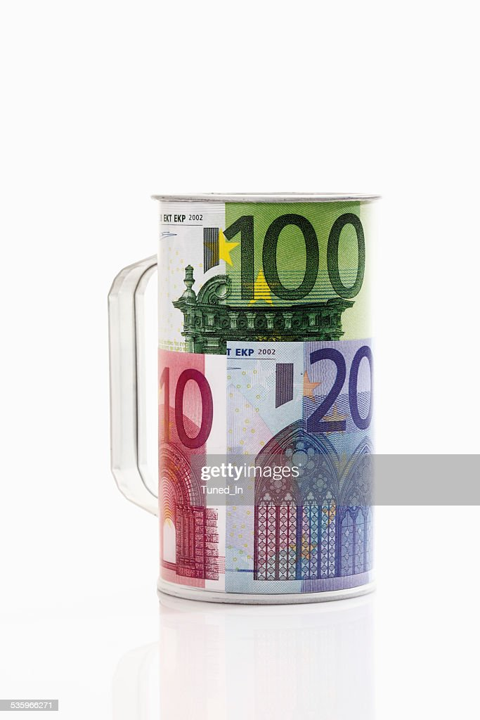 Charity can of euro notes, close-up : Stock Photo