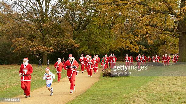 Charity fun run featuring a procession of runners dressed up as father christmas. There are autumnal colours in Richmond park here, and there are...