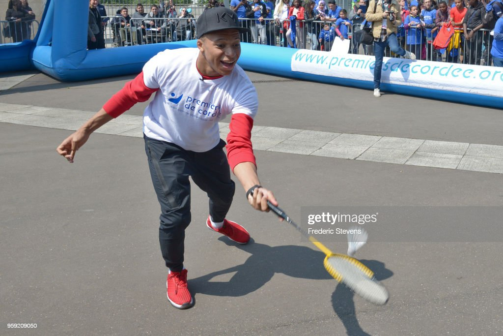 Charity godfather Paris Saint Germain footballer Kylian Mbappe takes part in the 'Tous En Bleu' sports workshops organised by the charity 'Premiers De Cordee' at Stade de France on May 16, 2018 in Paris, France. With 1 month to go before the World Cup in Russia, nearly 3,000 children from medical facilities were invited to the Stade de France for the 5th edition of 'La Journee de l' Evasion'.