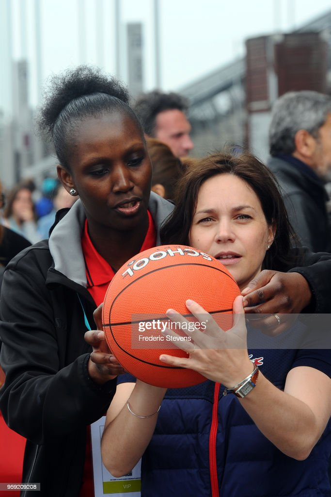 Charity 'godfather' , the former figure skating champion Nathalie Pechalat take part in the 'Tous En Bleu' sports workshops organised by the charity 'Premiers De Cordee' at Stade de France on May 16, 2018 in Paris, France. With 1 month to go before the World Cup in Russia, nearly 3,000 children from medical facilities were invited to the Stade de France for the 5th edition of 'La Journee de l' Evasion'.