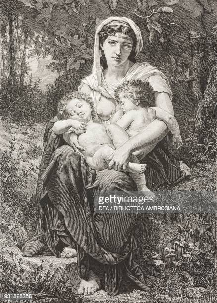Charity painting by WilliamAdolphe Bouguereau 1878 Paris Universal Exposition France engraving from L'Illustrazione Italiana Year 5 No 28 July 14 1878