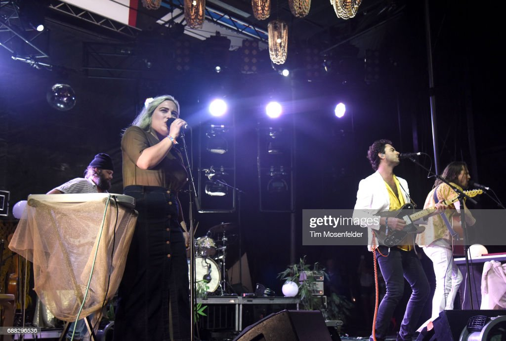 Charity Rose Thielen (L) and Jonathan Russell of The Head and the Heart perform during the 2017 Hangout Music Festival on May 20, 2017 in Gulf Shores, Alabama.