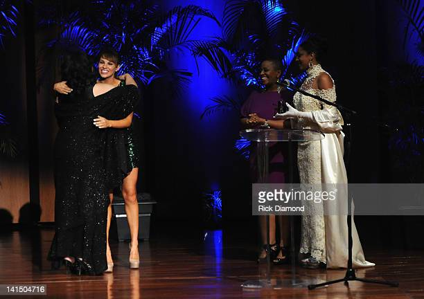 Charity Shea and Avery Sunshine present the Excellence in Acting Award to Jackee Harry at the Not Alone Foundation Second Biennial Diamond Awards at...