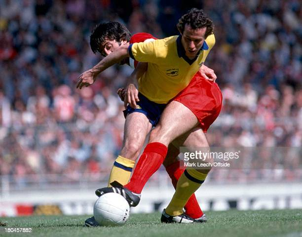 Charity Shield 1979Liverpool v ArsenalLiam Brady somes under pressure from David Johnson