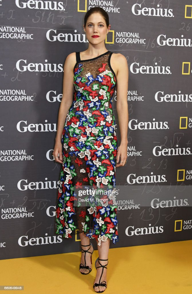 Charity Wakefield attends the London Premiere of the National Geographic Channel's 'Genius' at the Cineworld Haymarket on March 30, 2017 in London, United Kingdom.