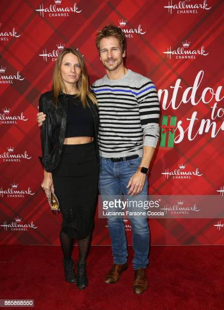 Charity Walden and Rusty Joiner attend Hallmark Channel's Countdown To Christmas celebration and VIP screening of Christmas At Holly Lodge at The...