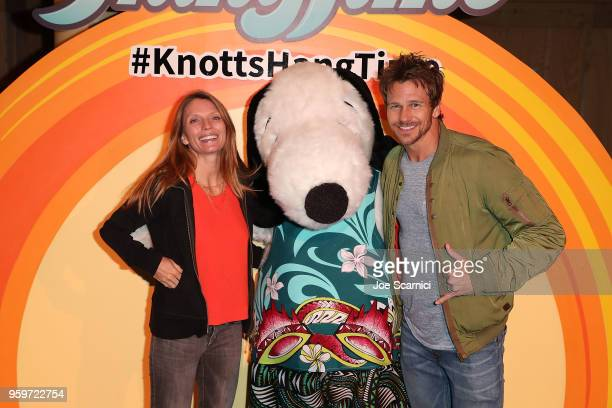 Charity Walden and Rusty Joiner attend the Knott's Berry Farm kick off preview party launching new dive coaster HangTime at Knott's Berry Farm on May...