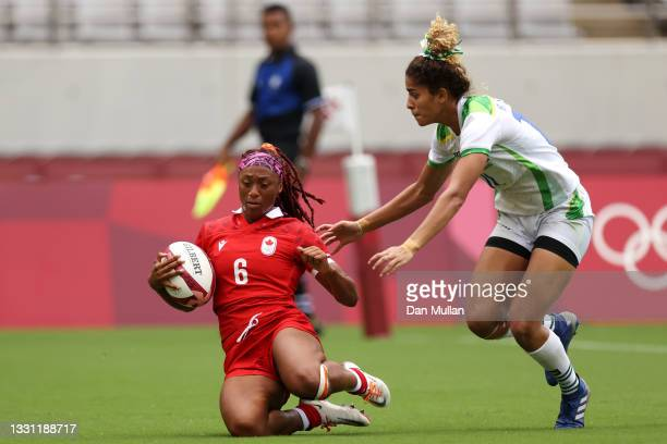 Charity Williams of Team Canada scores a try in the Women's pool B match between Team Canada and Team Brazil during the Rugby Sevens on day six of...