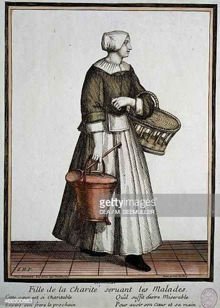 Charity worker print France 18th century
