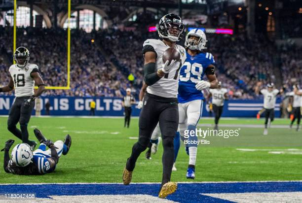Chark Jr #17 of the Jacksonville Jaguars runs into the end zone after making a catch in the first quarter of the game against the Indianapolis Colts...