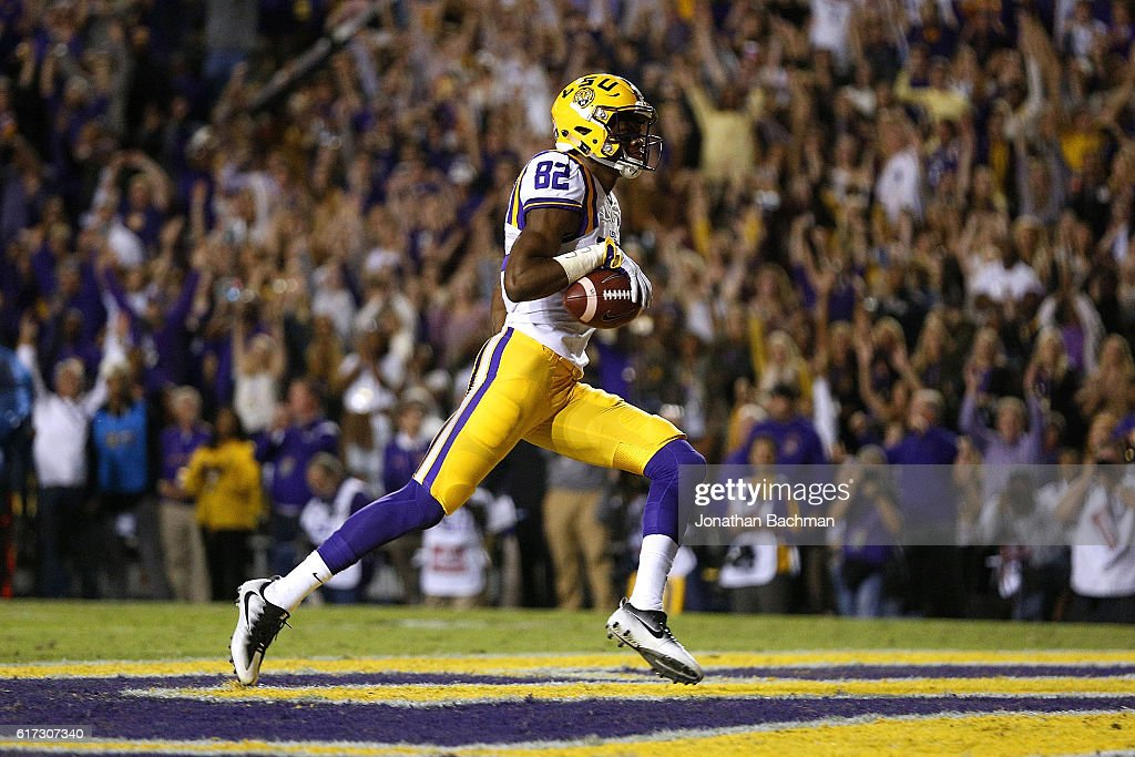 D.J. Chark #82 of the LSU Tigers scores a touchdown during the first half of a game against the Mississippi Rebels at Tiger Stadium on October 22, 2016 in Baton Rouge, Louisiana.