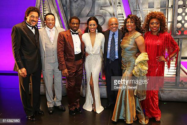 Charl Brown, Smokey Robinson, Cedric Neal, Lucy St Louis, Berry Gordy, founder of the Motown record label, Mary Wilson and Cherelle Williams pose...