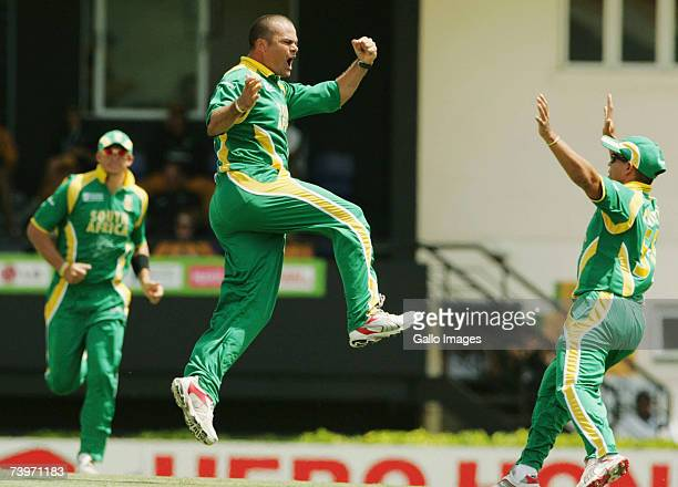 Charl Langeveldt celebrates the wicket of Adam Gilchrist for 1 run during the ICC Cricket World Cup Semi Final match between Australia and South...