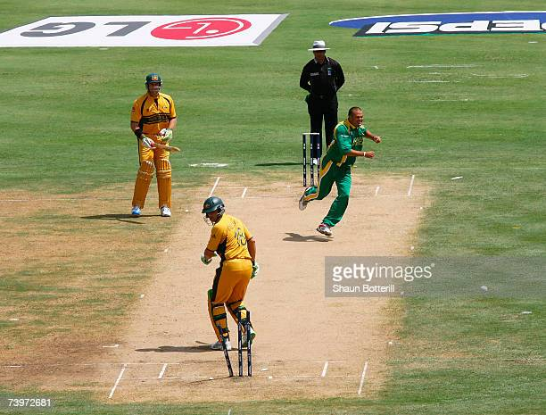 Charl Langeveldt of South Africa celebrates the wicket of Adam Gilchrist of Australia during the ICC Cricket World Cup Semi Final match between...