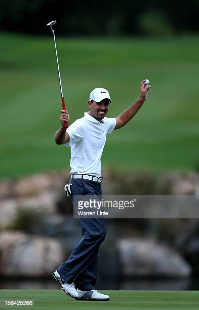 Charl Schwartzel of South Africa celebrates after winning the Alfred Dunhill Championship on a score of 24 at Leopard Creek Country Golf Club on...