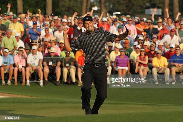 Charl Schwartzel of South Africa celebrates his twostroke victory on the 18th green during the final round of the 2011 Masters Tournament at Augusta...