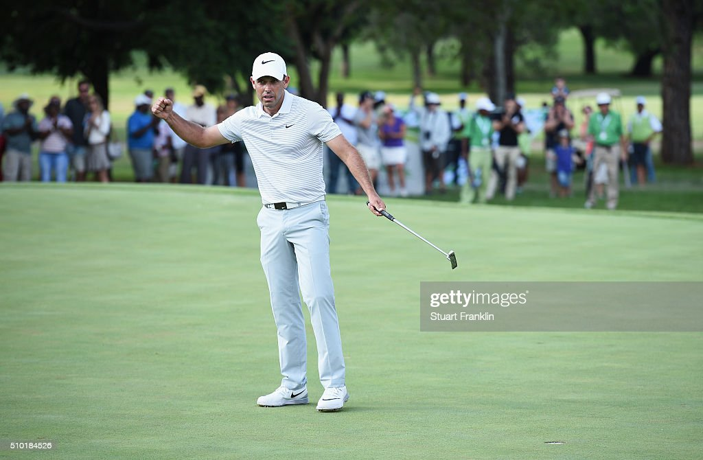 Charl Schwartzel of South Africa celebrates victory on the 18th green during the final round of the Tshwane Open at Pretoria Country Club on February 14, 2016 in Pretoria, South Africa.