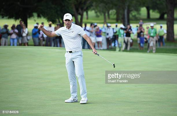 Charl Schwartzel of South Africa celebrates victory on the 18th green during the final round of the Tshwane Open at Pretoria Country Club on February...