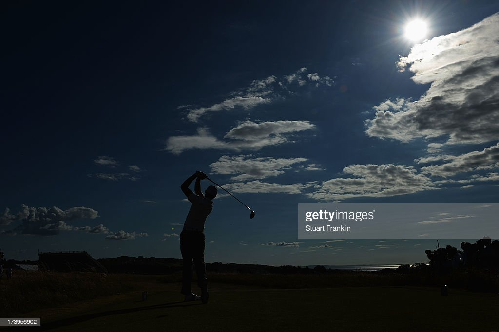 Charl Schwartzel of South Africa hits a drive off 14th tee during the first round of the 142nd Open Championship at Muirfield on July 18, 2013 in Gullane, Scotland.