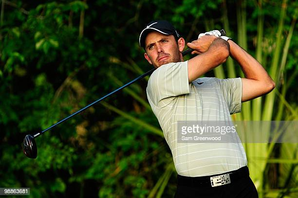 Charl Schwartzel of South Africa hits a shot during a practice round prior to the start of THE PLAYERS Championship held at THE PLAYERS Stadium...
