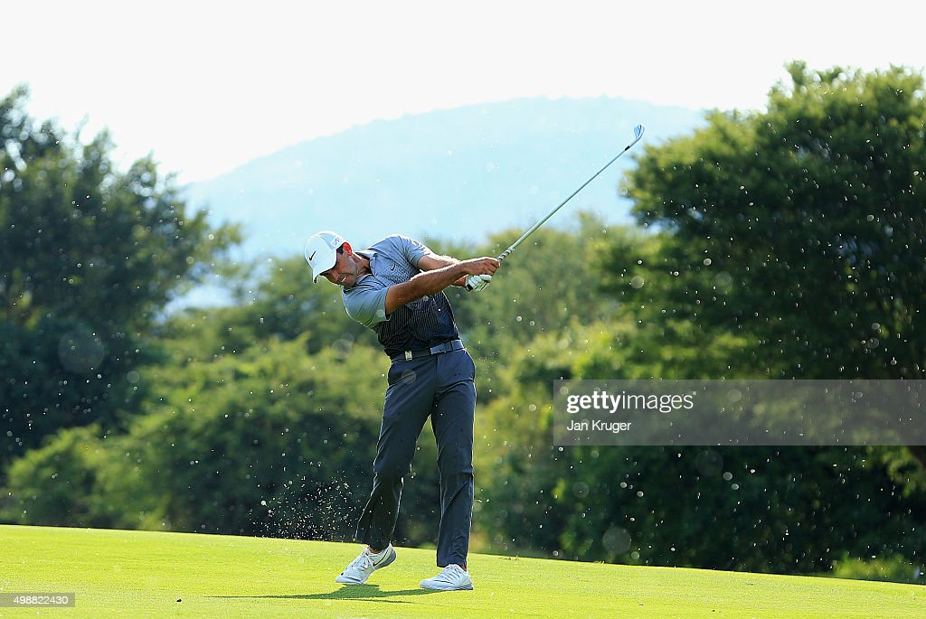 Charl Schwartzel of South Africa hits an iron during day one of the Alfred Dunhill Championship at Leopard Creek Country Golf Club on November 26, 2015 in Malelane, South Africa.